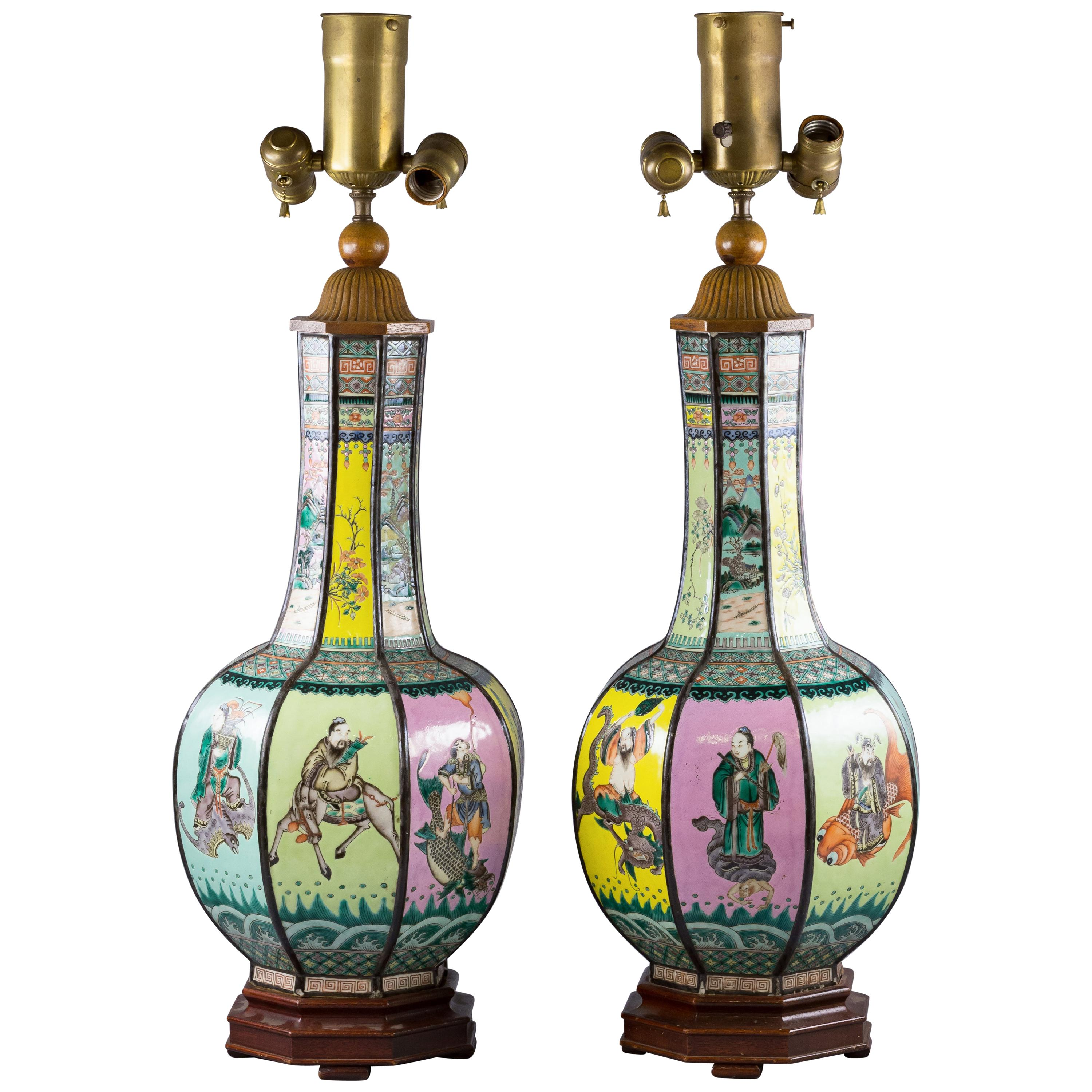 Pair of Chinese Porcelain Famille Rose Octagonal Vases Mounted as Lamps