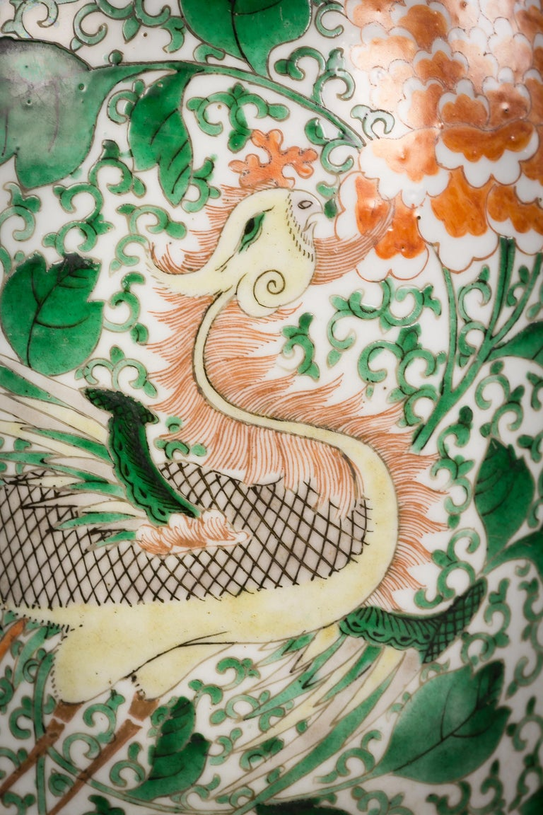 Pair of Chinese porcelain famille verte dragon vases, circa 1840.