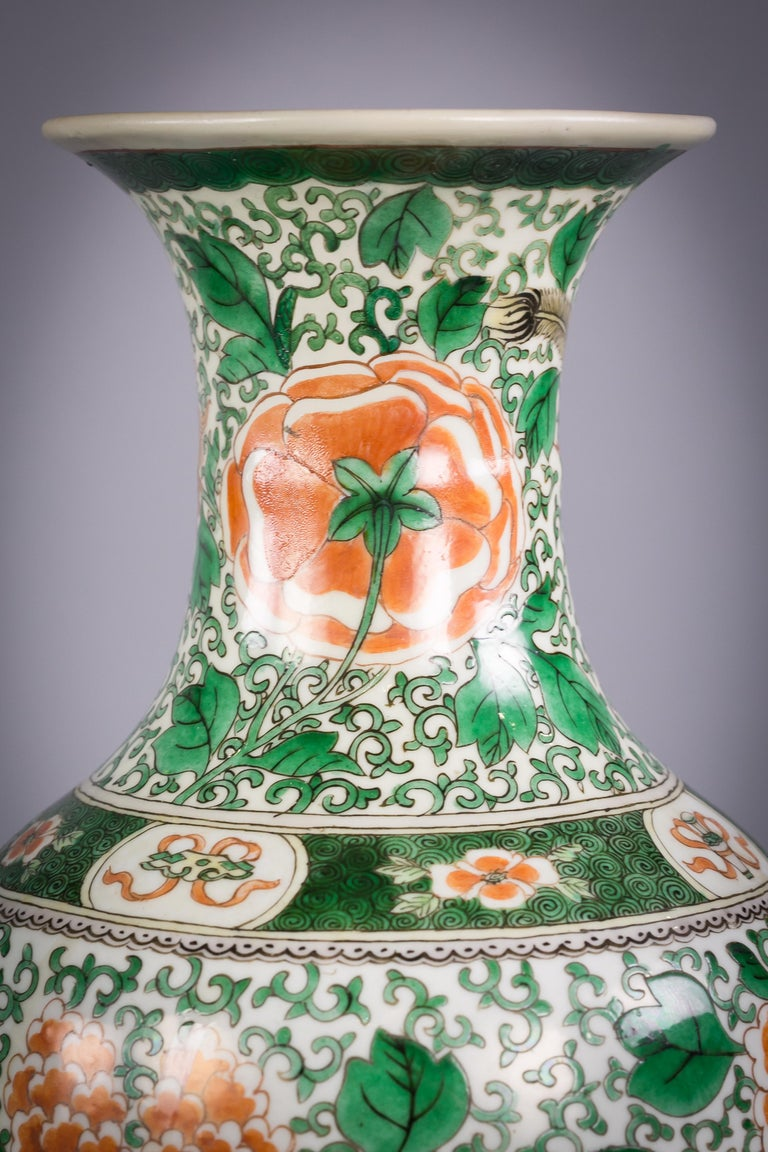 Mid-19th Century Pair of Chinese Porcelain Famille Verte Dragon Vases, circa 1840 For Sale