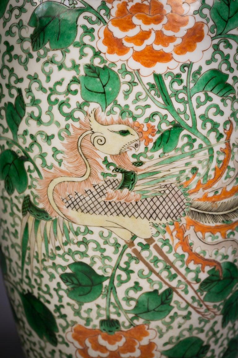 Pair of Chinese Porcelain Famille Verte Dragon Vases, circa 1840 For Sale 2