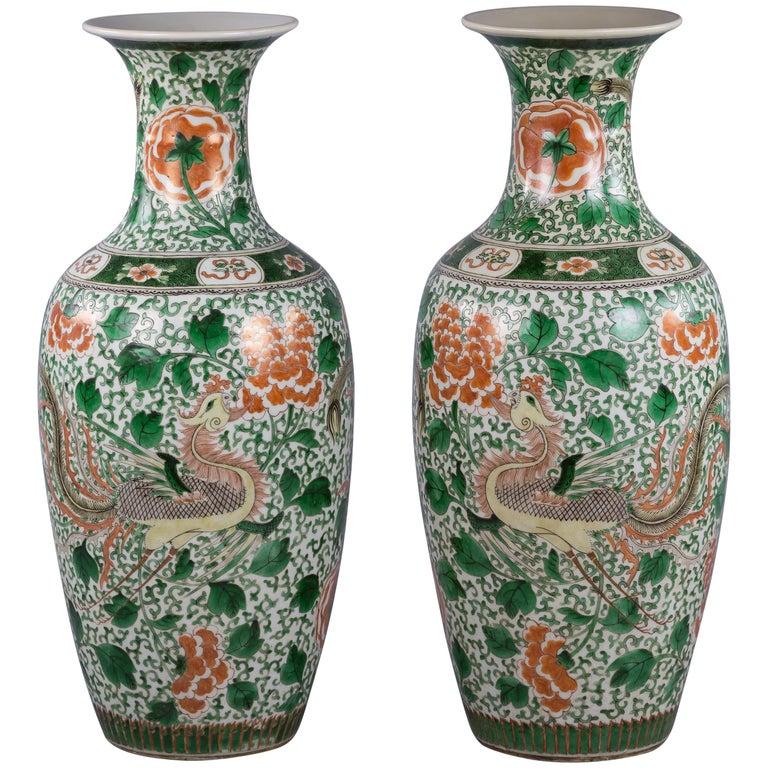 Pair of Chinese Porcelain Famille Verte Dragon Vases, circa 1840 For Sale