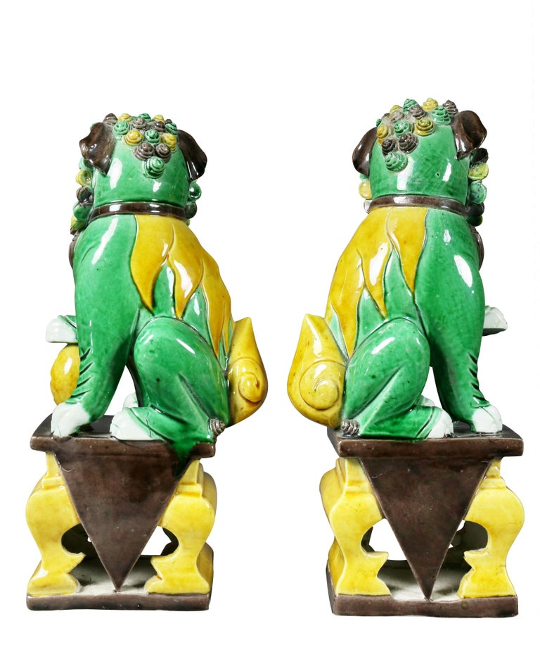 Pair of Chinese Porcelain Foo Dogs For Sale 2