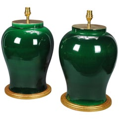 Pair of Chinese Porcelain Green Glazed Table Lamps