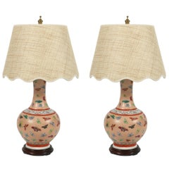 Pair of Chinese Porcelain Lamps with Butterflies