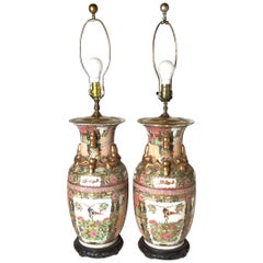 Pair of Chinese Porcelain Lamps with Wood Bases