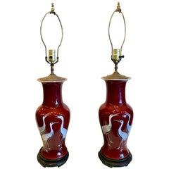 Pair of Chinese Porcelain Sang de Boeuf Lamps