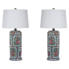 1950's Pair of Porcelain Table Lamps