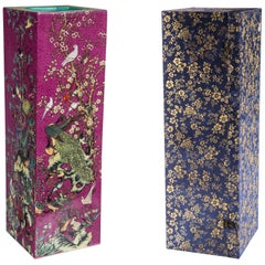 Pair of Chinese Porcelain Tall Square Vases