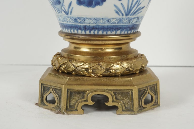 Pair of Chinese Porcelain Vases Mounted with Gilded Bronze Candelabra Tops For Sale 1