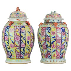 Pair of Chinese Porcelain Vases, SE Asian Market Straits Bencharong