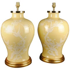 Pair of Chinese Porcelain Yellow Blossom Antique Table Lamps
