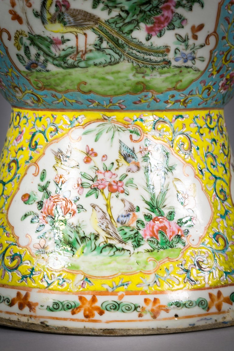 Pair of Chinese Porcelain yellow and turquoise ground Famille Rose vases, circa 1860.