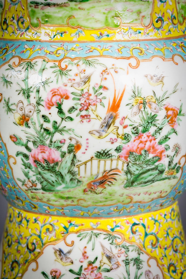 Pair of Chinese Porcelain Yellow Ground Famille Rose Vases, circa 1860 In Good Condition For Sale In New York, NY