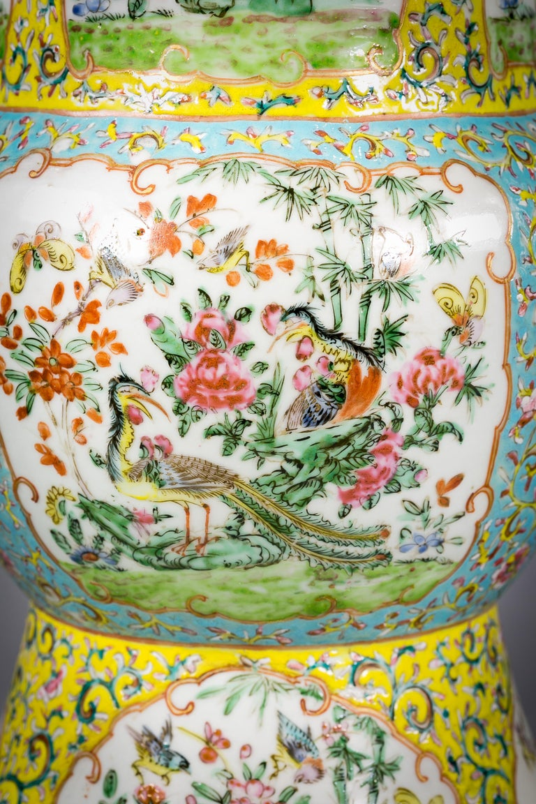 Mid-19th Century Pair of Chinese Porcelain Yellow Ground Famille Rose Vases, circa 1860 For Sale