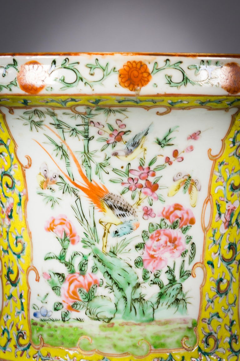 Pair of Chinese Porcelain Yellow Ground Famille Rose Vases, circa 1860 For Sale 1