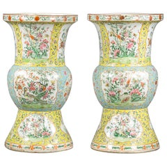 Pair of Chinese Porcelain Yellow Ground Famille Rose Vases, circa 1860