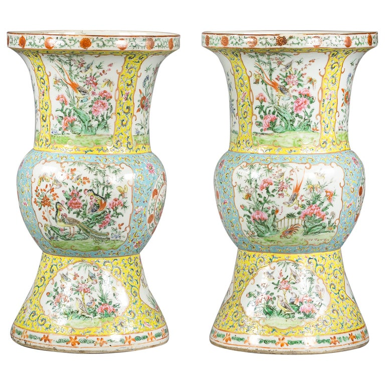 Pair of Chinese Porcelain Yellow Ground Famille Rose Vases, circa 1860 For Sale