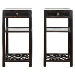 Pair of Chinese Qing Dynasty 19th Century Black Lacquer Lamp Tables with Drawers