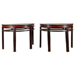 Pair of Chinese Qing Dynasty 19th Century Demilune Tables with Original Lacquer
