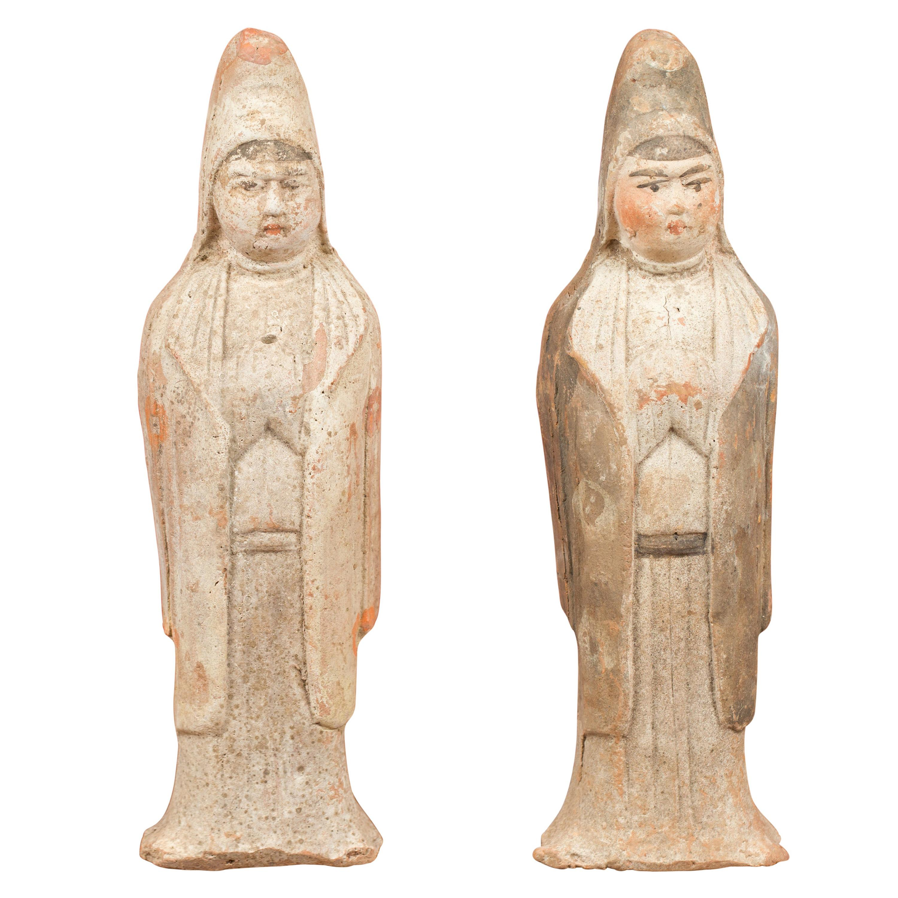 Pair of Chinese Qing Dynasty 20th Century Small Hand Painted Terracotta Statues