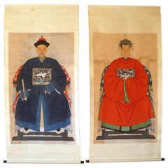 Pair of Chinese Qing Dynasty Ancestor Portrait Scroll Paintings