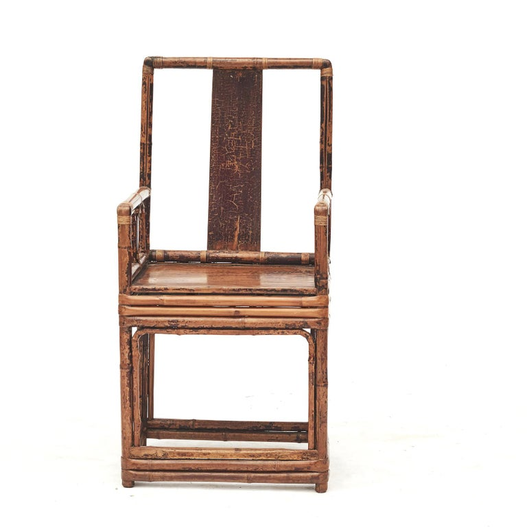 Lacquered Pair of Chinese Qing Dynasty Bamboo Chairs For Sale