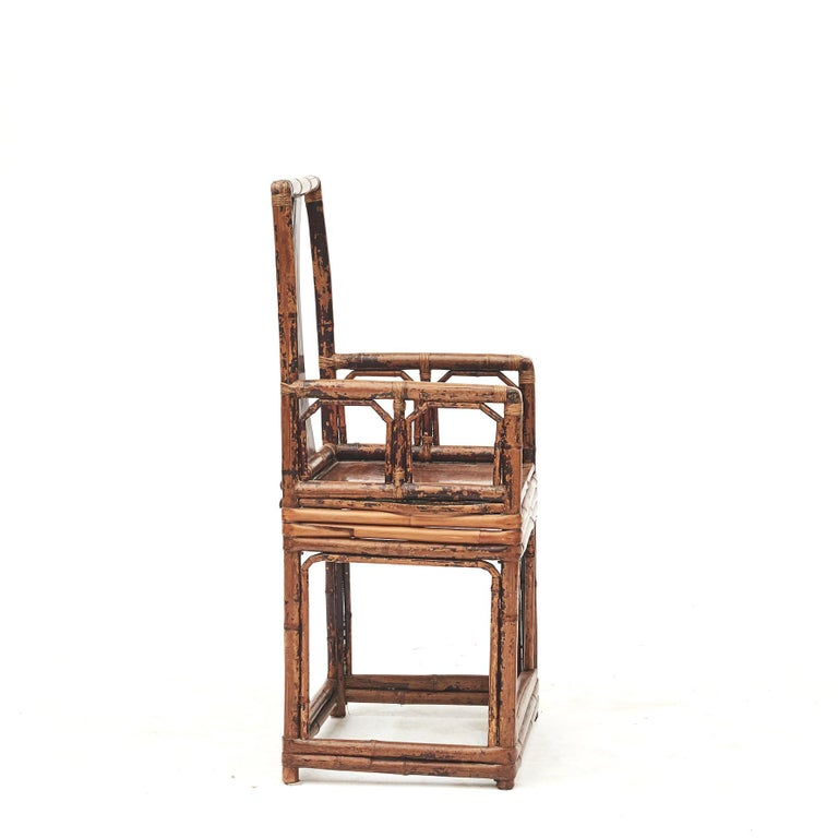 19th Century Pair of Chinese Qing Dynasty Bamboo Chairs For Sale