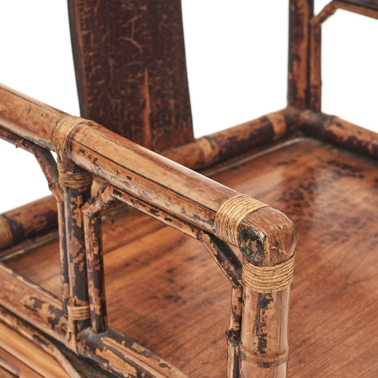 Pair of Chinese Qing Dynasty Bamboo Chairs For Sale 2