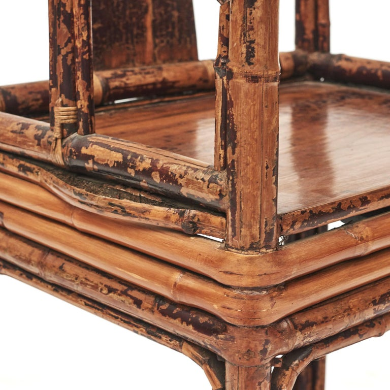 Pair of Chinese Qing Dynasty Bamboo Chairs For Sale 3
