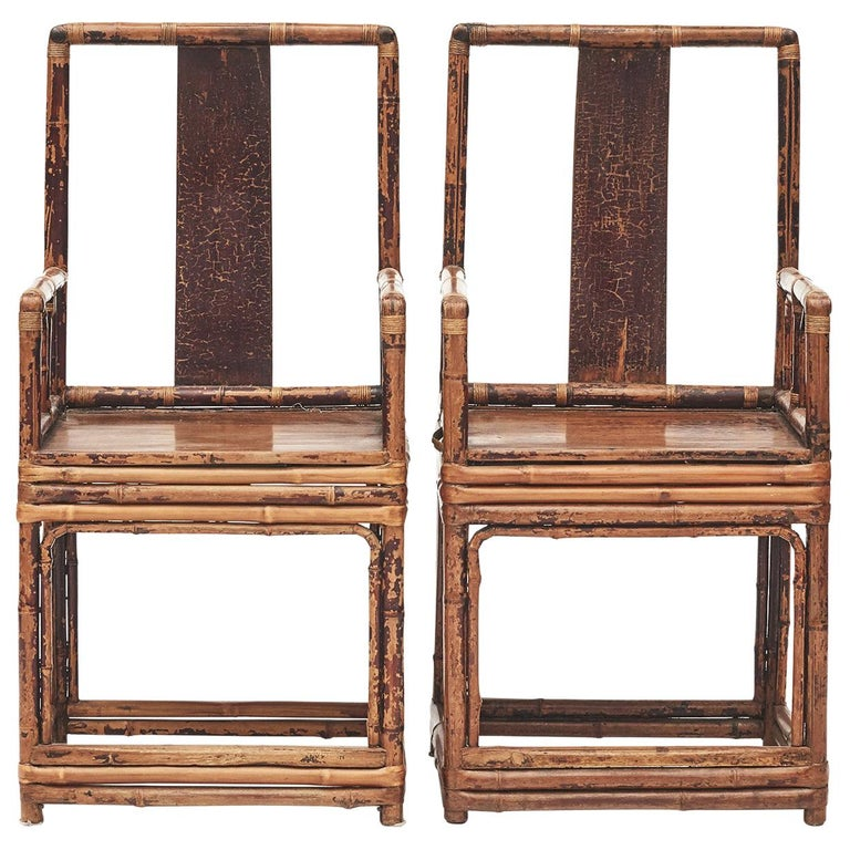 Pair of Chinese Qing Dynasty Bamboo Chairs For Sale