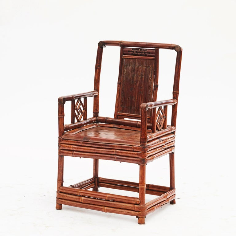 Pair of Chinese Qing Dynasty Bamboo Chairs with Calligraphy In Good Condition For Sale In Nordhavn, DK