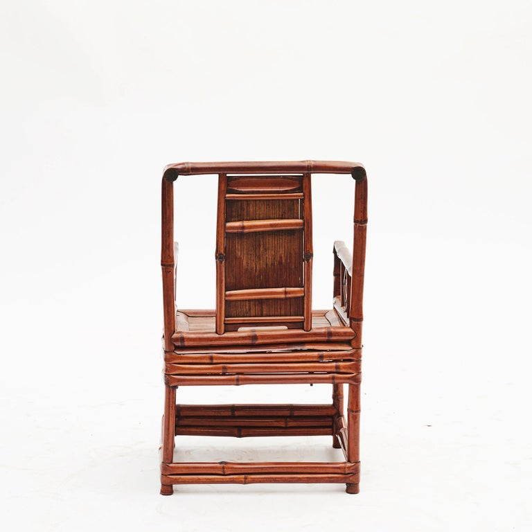 19th Century Pair of Chinese Qing Dynasty Bamboo Chairs with Calligraphy For Sale