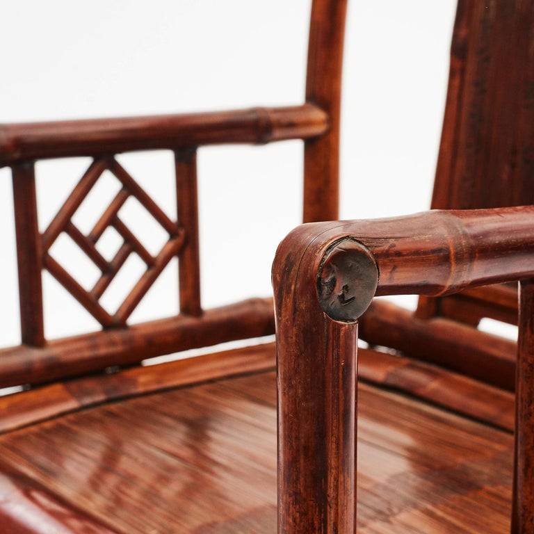 Pair of Chinese Qing Dynasty Bamboo Chairs with Calligraphy For Sale 4