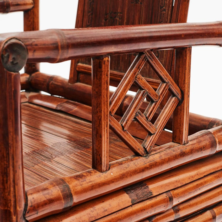 Pair of Chinese Qing Dynasty Bamboo Chairs with Calligraphy For Sale 5