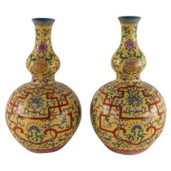 Pair of Chinese Qing Dynasty Floral Design Double Gourd Porcelain Vase