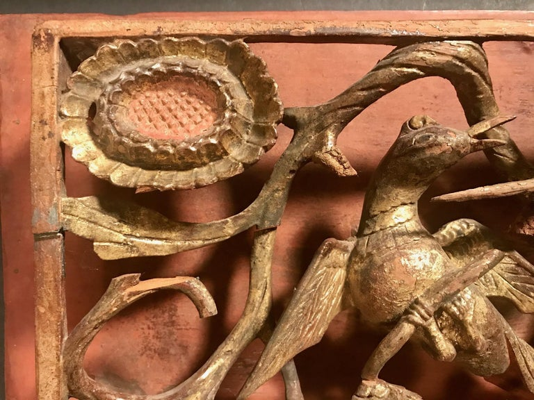 Pair of Chinese Qing Dynasty Openwork Wall Hanging Giltwood Carvings For Sale 8