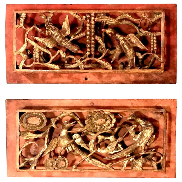 Pair of Chinese Qing Dynasty Openwork Wall Hanging Giltwood Carvings For Sale