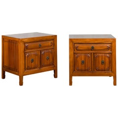 Pair of Chinese Qing Dynasty Period Natural Elm Low Cabinets with Three Drawers