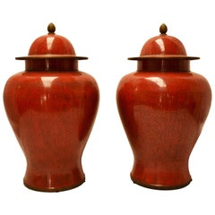 Pair of Chinese Red Cloisonné Ginger Jars, Mid-20th Century