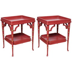 Pair of Chinese Red Double Tray Tables