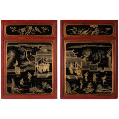 Pair of Chinese Red, Gold and Black Lacquered Panels