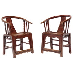Pair of Chinese Red Lacquer Roundback Chairs, circa 1900