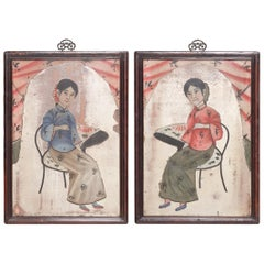 Pair of Chinese Reverse Glass Portrait Paintings, circa 1900
