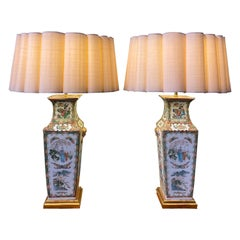 Pair of Chinese Rose Canton Square Vases as Lamps