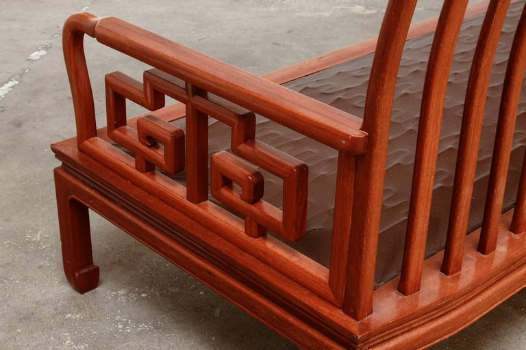 Pair of Chinese Rosewood Carved Sofas or Benches For Sale 5