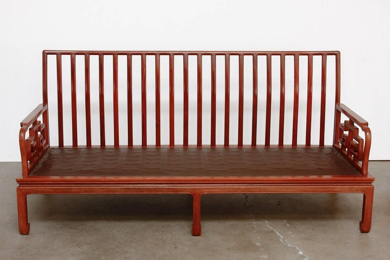 Pair of Chinese Rosewood Carved Sofas or Benches In Excellent Condition For Sale In Oakland, CA