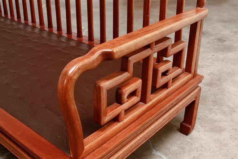 Metal Pair of Chinese Rosewood Carved Sofas or Benches For Sale
