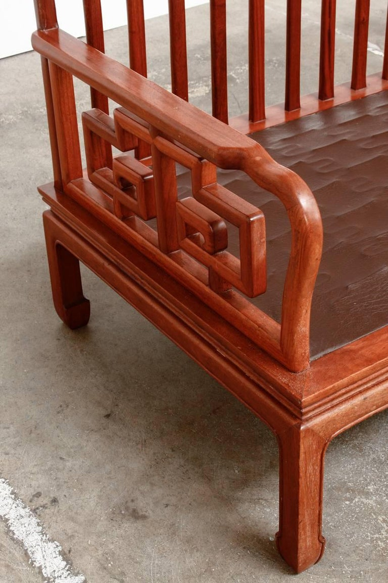 Pair of Chinese Rosewood Carved Sofas or Benches For Sale 1
