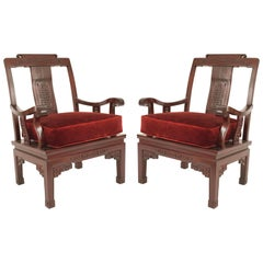 Pair of Chinese Rosewood Cushioned Armchairs