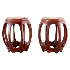 Pair of Chinese Rosewood Drum Stools or Drinks Tables